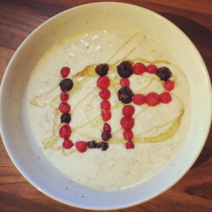 Up spelled out in food
