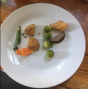 Sunday roast vegetables spelling UP